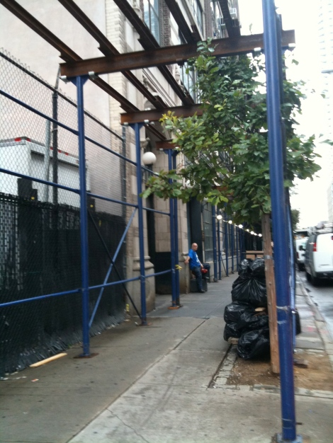 Proof of Theory: Scaffolding is constructed at 438 W. 37th Street around the same time scaffolding disappears from 37th & 9th.